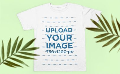 Mockup of a T-Shirt Laying Flat on a Surface with Some Plants 2888-el1