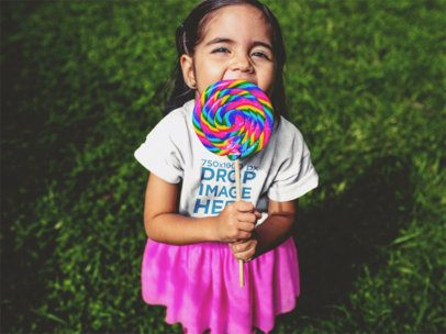T-Shirt Mockup of a Little Girl and Her Lollipop 12102a