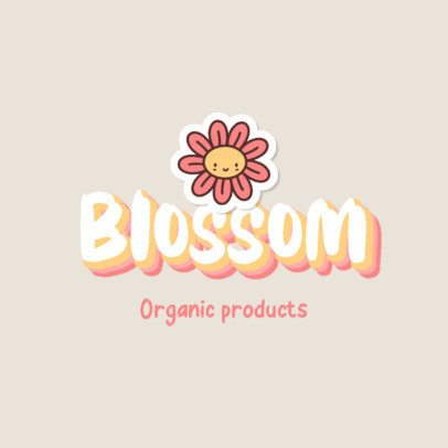 Beauty Logo Maker with the Illustration of a Happy Flower 2949g