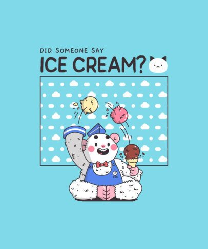 Kawaii T-Shirt Design Template Featuring an Ice Cream-Juggling Yeti Graphic 289a