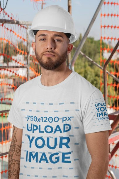 Sleeve T-Shirt Mockup Featuring a Construction Worker on Site 31534