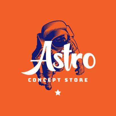 Clothing Brand Logo Template Featuring an Illustration of an Astronaut 2952c