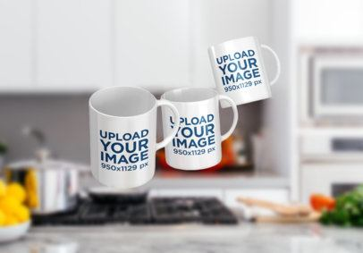 Mockup Featuring Three 11 oz Mugs Floating over a Kitchen Counter 2899