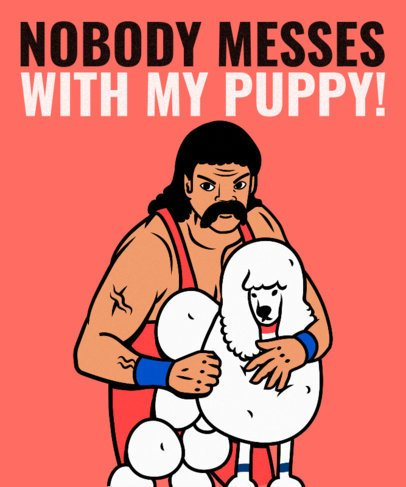 80's Style T-Shirt Design Maker with a Wrestling Character and a Dog 2279a