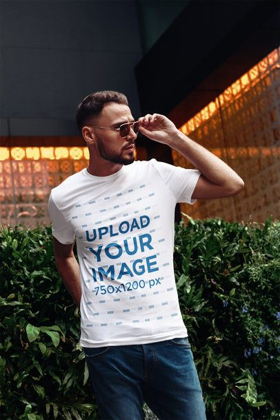 Mockup of a Cool Stylish Man Wearing a Customizable T-Shirt 2814-el1