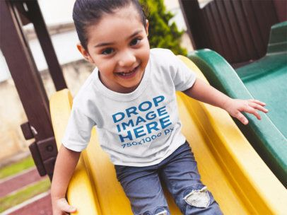 Little Girl Playing Around T-Shirt Mockup a12043