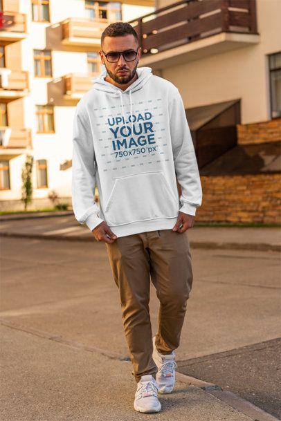 Hoodie Mockup of a Serious Man with Sunglasses Walking on the Street 2774-el1