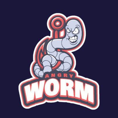 Mascot Logo Maker Featuring an Aggressive Worm Cartoon 1651r-2964