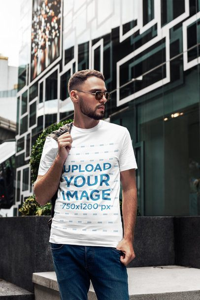 T-Shirt Video of a Bearded Man Posing Next to a Cool Building 2816-el1