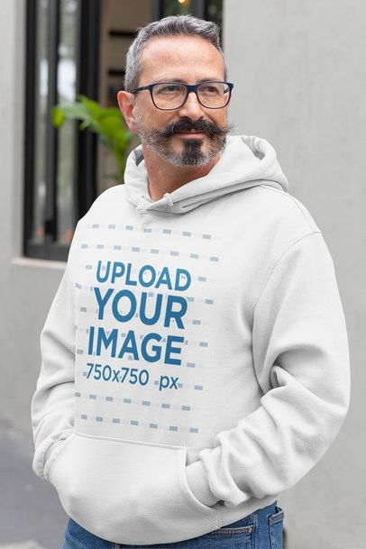 Mockup of a Man with a Mustache Wearing a Hoodie 31723