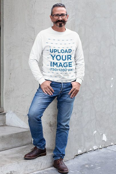 Sweatshirt Mockup of a Middle-Aged Bearded Man Posing by Some Steps 31719