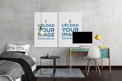 Mockup of Two Art Prints Placed on a Bedroom Wall 2536-el1