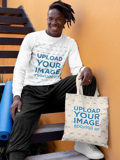 Long Sleeve Tee Mockup of a Man Holding a Tote Bag 31122