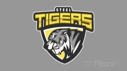 Animated Sports Logo Template with a Fierce Tiger Illustration 1619p-2964