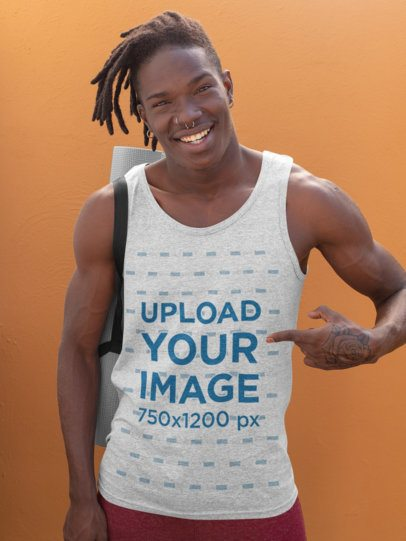 Tank Top Mockup of a Happy Man With a Hand Tattoo and Ready for a Yoga Class 31113
