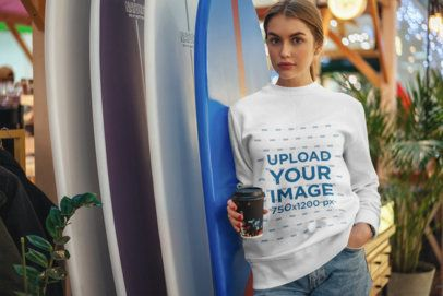 Sweatshirt Mockup of a Young Woman Leaning on Some Surfboards 2837-el1