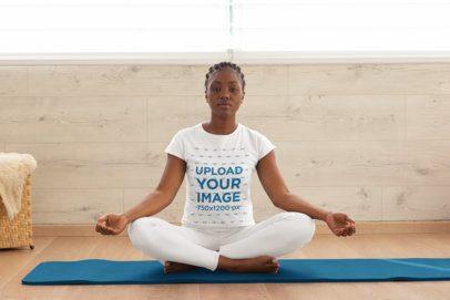 T-Shirt Mockup of a Woman Practicing Meditation 31086