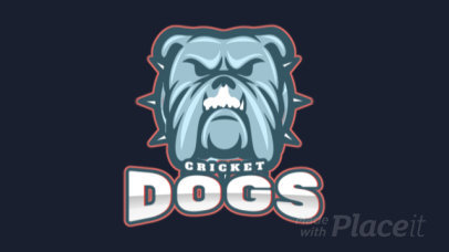 Animated Sports Logo Maker for a Cricket Team with a Dog Graphic 1649r 2964