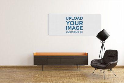 Modern Mockup of an Art Print with Some Minimalistic Furniture 2539-el1