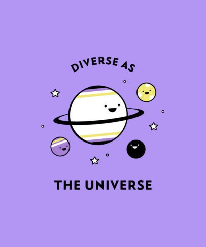 T-Shirt Design Maker with Cute Planets and a Diversity Quote 2259a