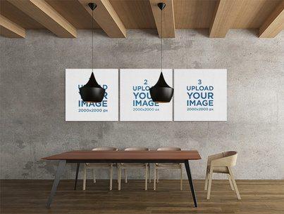 Mockup of Three Squared Art Prints in a Minimalistic Dining Room 2540-el1