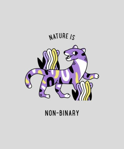 T-Shirt Design Maker with a Non-Binary Quote and an Animal Clipart 2259d