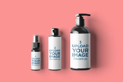Minimal Mockup Featuring Three Cosmetic Bottles Placed Against a Solid Color Background 2565-el1