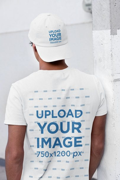 Back-View Mockup of a Man Wearing a T-Shirt and a Dad Hat 31173