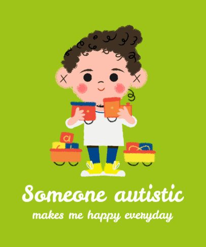 Autism Awareness T-Shirt Design Maker Featuring a Kid with a Jigsaw Puzzle 2254b