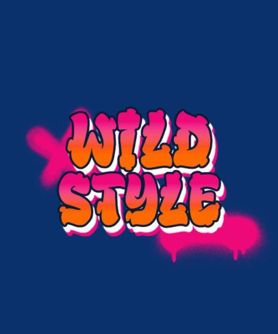 T-Shirt Design Template with a Graffiti Style 286-el1