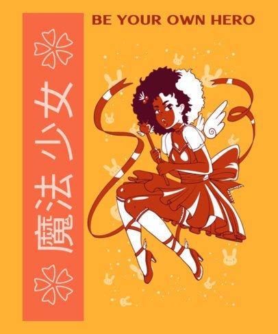 Anime-Inspired T-Shirt Design Maker with a Magical Girl Illustration 2294i
