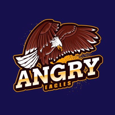 Sports Logo Maker Featuring an Angry Eagle Waving Its Wings 2975i