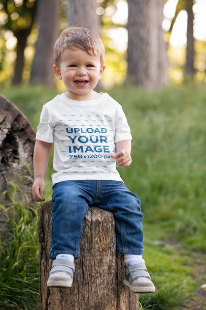 T-Shirt Mockup of a Toddler Sitting on a Log 2911-el1