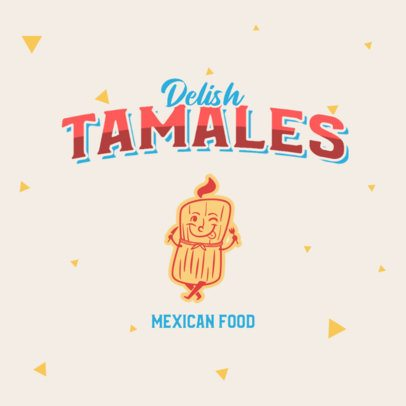 Mexican Food Restaurant Logo Maker with a Tamale Character 2978c