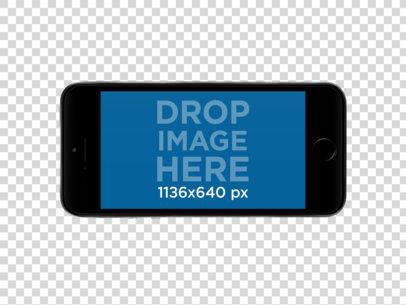 Black iPhone SE in Landscape Position PNG Mockup a12167