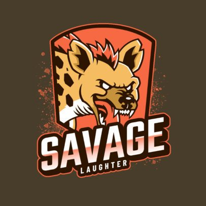 Sports Logo Generator Featuring a Savage Hyena Laughing  2975k
