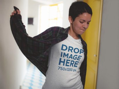 T-Shirt Mockup of a Fun Girl with a Plaid Long Sleeve Shirt a12215