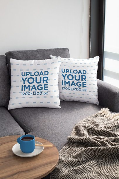 Mockup of Two Squared Pillows on a Couch 31305