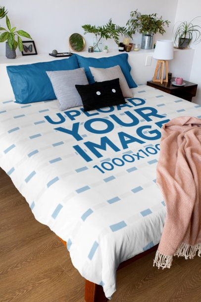 Duvet Cover Mockup Featuring a Stylish Bedroom 31287