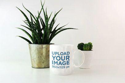 11 oz Coffee Mug Mockup Featuring Small Indoor Plants 2953-el1