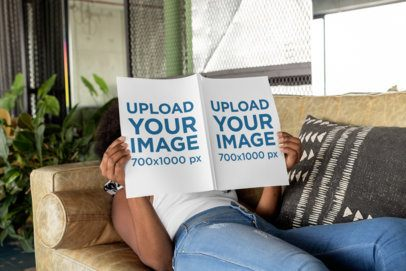 Magazine Mockup Featuring a Woman Lying on a Couch 31566