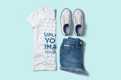 Mockup of a Girls' Outfit with a T-Shirt Folded by Half 2995-el1