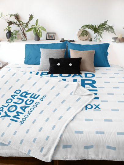 Mockup Featuring a Duvet Cover and a Blanket on a Bed 31288