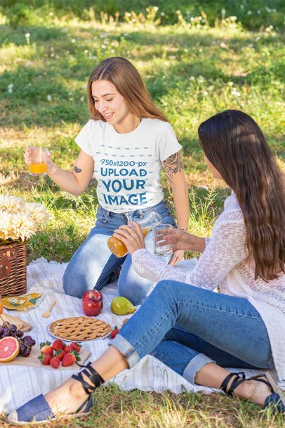 T-Shirt Mockup of Two Women Having Brunch at a Picnic 32254