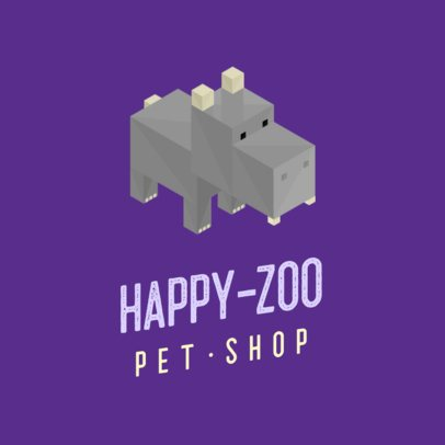 Logo Template Featuring an Isometric Hippopotamus Graphic 922A-el1