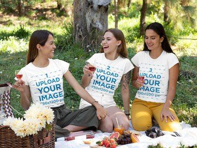 T-Shirt Mockup Featuring Three Happy Female Friends Having a Picnic 32274
