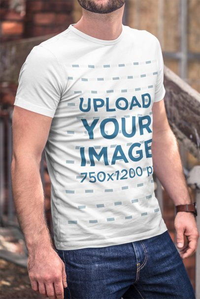 Mockup of a Bearded Man Wearing a Customizable T-Shirt and Denim Jeans 2971-el1