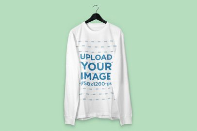 Mockup of a Sweatshirt on a Hanger with a Customizable Background 3013-el1