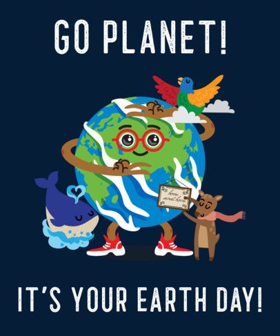 T-Shirt Design Maker for Earth Day with Animal Graphics 2292b