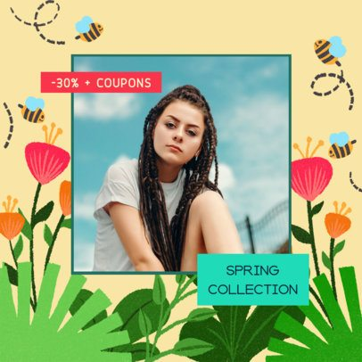 Instagram Post Maker for Fashion Promos Featuring Spring Illustrations 2309d